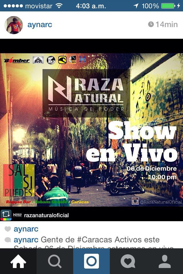 #Caracas Sabado 6dic en vivo @RazaNatural en @BarSalSiPuedes   con  @RasNeftaly  #Reggae  #Dub #Venezuela http://t.co/lu97SEhKf9