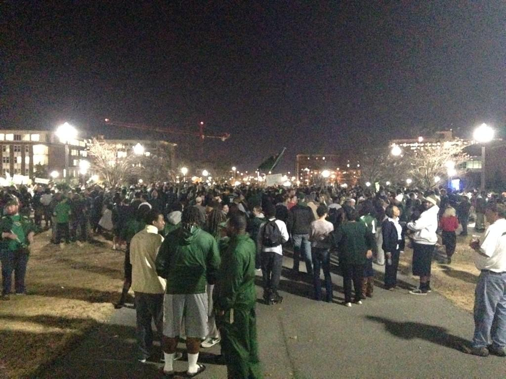 Out here for the UAB rally to save the FB program. Tremendous show of student support and solidarity. http://t.co/XfAfzwjr7M