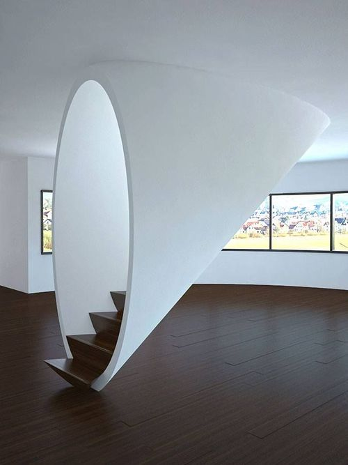 I think I'd feel like I'm going up into a spaceship with this staircase. http://t.co/8AvP8GE0aw