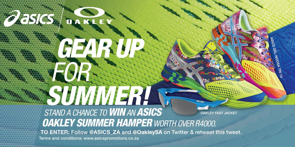 Competition Time follow @ASICS_ZA & @OakleySA, & retweet this tweet for a chance to WIN a #summerhamper worth R4 000! http://t.co/GcYoGRCRD1