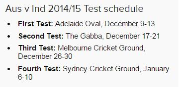 ABC Grandstand (@abcgrandstand): The new schedule for the four-Test series between Australia and India: http://t.co/agspqOHldc