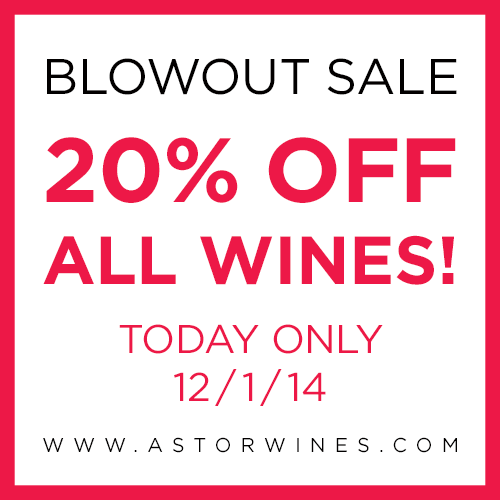 Happy #CyberMonday! ALL wines are 20% off today: http://t.co/HDiGgmK9J1 #WineSale #Wine http://t.co/3Ixglr9LOn