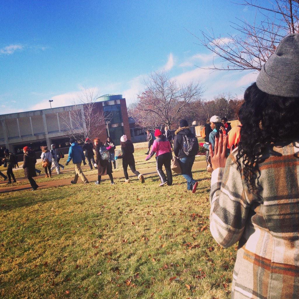 #handsupwalkout happening @umsl - standing with #Ferguson http://t.co/VlsHTHKfCG