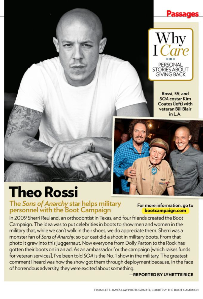 Did you see @Theorossi is the latest issue of @peoplemag Magazine? He talks about the @BootCampaign and why he cares! http://t.co/U2EhSL3oJL