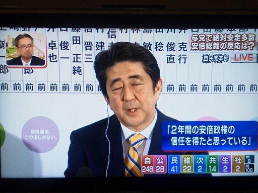 日本終わりの始まり @kwave526: TBS 岸井「アベノミクス以外、集団的自衛権や原発などについても信任得たと?」  安倍「まさに選挙は政権に対する審判ですから、国民の皆さんの信任を得たと思っております」 思い通り。終わったね。 http://t.co/9boXRwLuH9