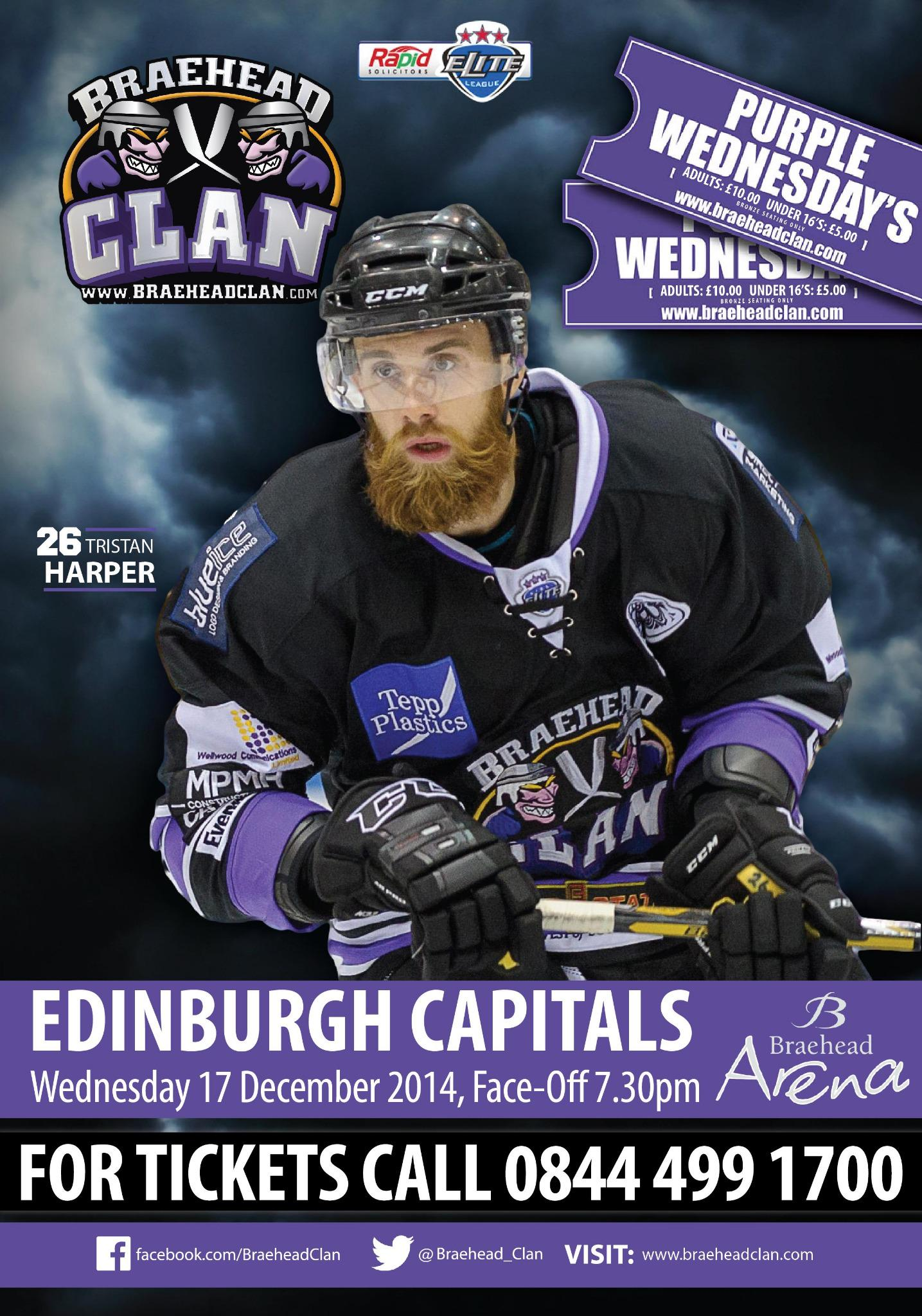 PROMOTE: The @Braehead_Clan face the @edcapitals on Wednesday (7.30pm face-off) in @officialEIHL action #Glasgow http://t.co/j9rXshycI1