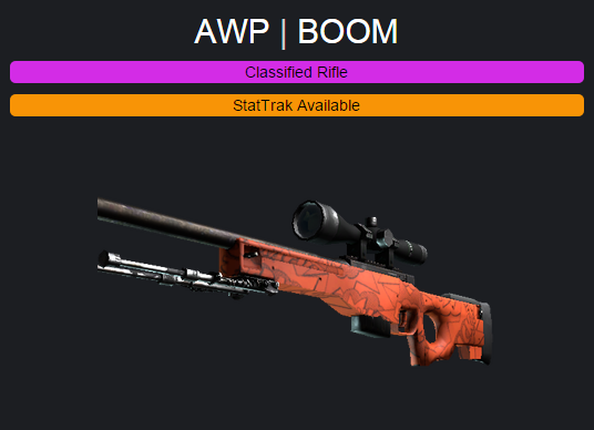 We're giving away this CS: GO AWP BOOM weapon skin! RT &
