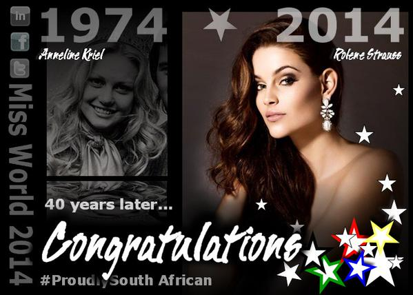 After 40yrs SA brings home #MissWorld crown CONGRATS. SA most certainly does have the most beautiful women on Earth! http://t.co/DTEY33ZtP5