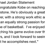 Michael Jordan releases a statement congratulating Kobe Bryant. http://t.co/q8FwRXg3w6