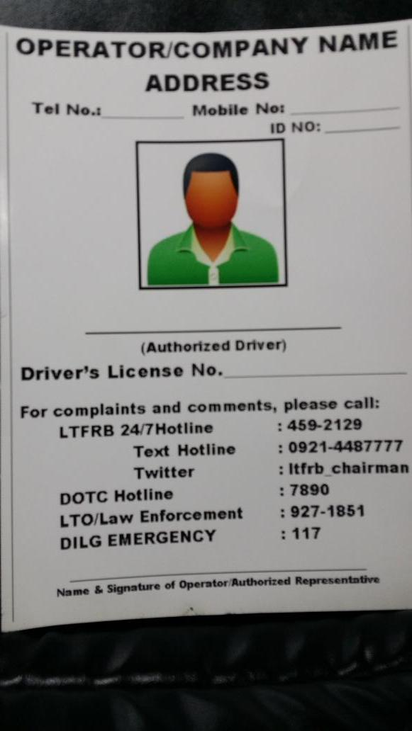 Id Template For Taxi Drivers To Be Issued By Their