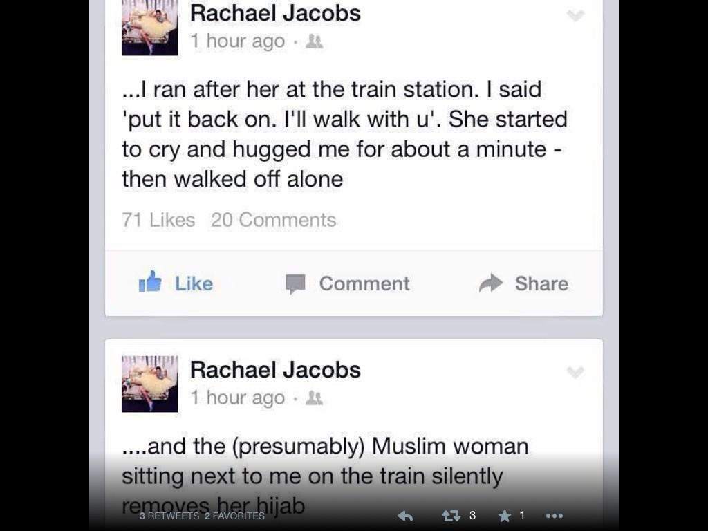 Love the sentiment behind #illridewithyou but who is Rachael Jacobs and where is her original tweet? http://t.co/tDfodkrFeL