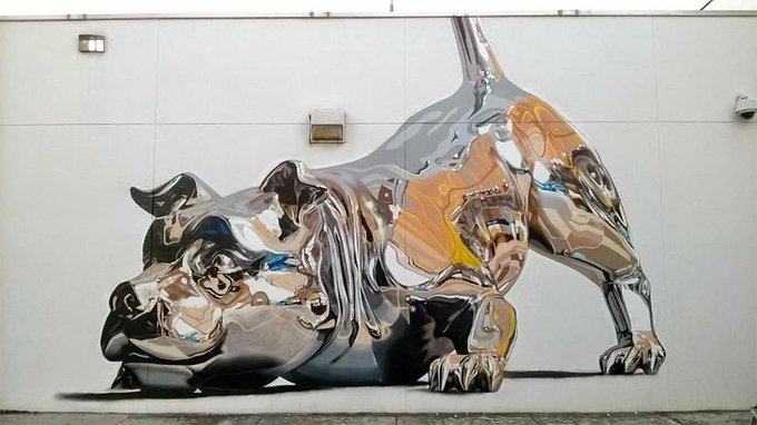 Puerto Rican street artist Bik Ismo created this metallic dog #mural during Art Basel Miami last week http://t.co/3OXyBLTow2