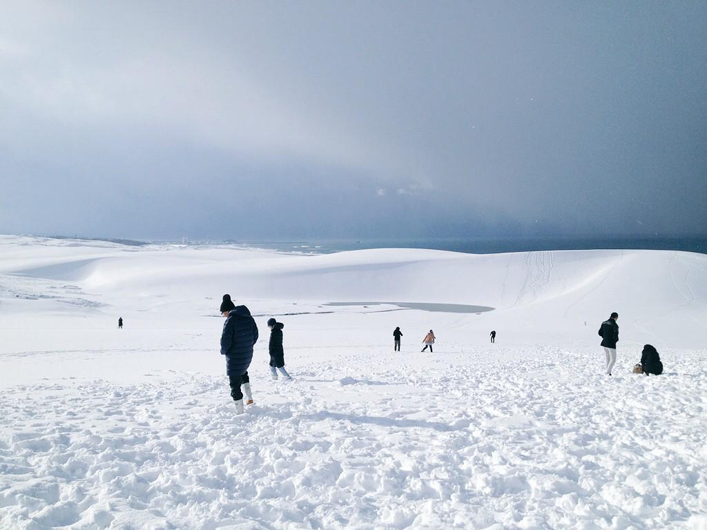 """こっちの方が楽しそうだ…( ̄◇ ̄;) """"@LAbar0706: 鳥取砂丘が真っ白です! http://t.co/7B8rRVISJi"""""""