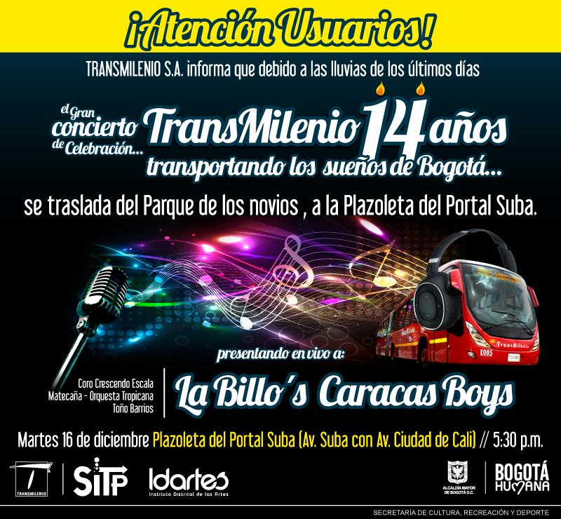 Mañana tremenda fiesta por el #CumpleTransMi14 en el Portal Suba con la @OrquestaBillo. http://t.co/4JAm3dVNtq