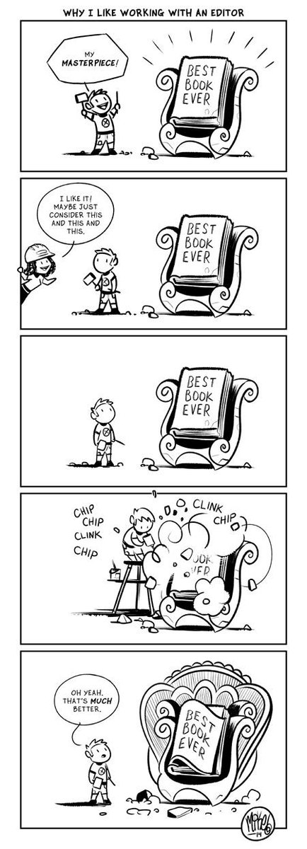 Drew this little comic about why I like working with an editor. http://t.co/otjsHwSLxn