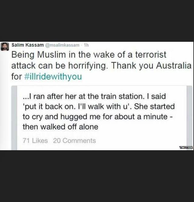 My heart breaks for families of the victims  but our spirit never will be broken.  #illridewithyou #ProudofAustralia http://t.co/LdSV8LQnHI