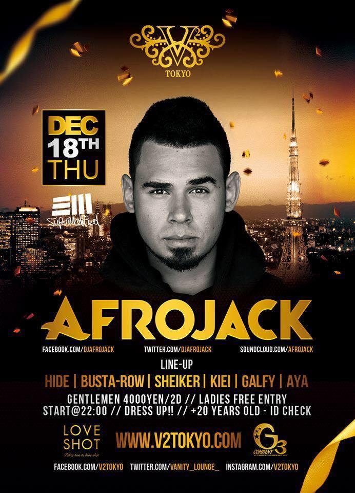 """緊急告知! 12/18.2014(Thu) """"Afrojack""""@ V²TOKYO Detail:http://t.co/GOfaFDAooE #Afrojack #V2Tokyo #vanity #tokyo #パークルー #六本木 http://t.co/7K8NNlo1oc"""