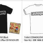 Available now T-shirt COSMOGONY white & black | IDR 100k (plus CD NyataEP) | sms order: 082346469779 / pin: 269A097B http://t.co/vh9Zjuy0TT