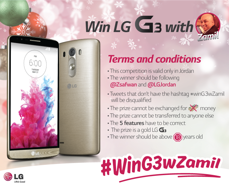 #WinG3wZamil Terms and Conditions. Last day for entry is Friday the 19th of December. #Jordan http://t.co/Q7Bc9HecFv