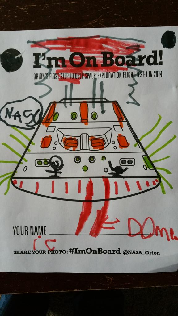 """""""@C_Campisano: 5 yr old son waiting patiently for the @NASA_Orion launch by coloring. #ImOnBoard http://t.co/b0UmhfbXZ9""""@pillownaut"""