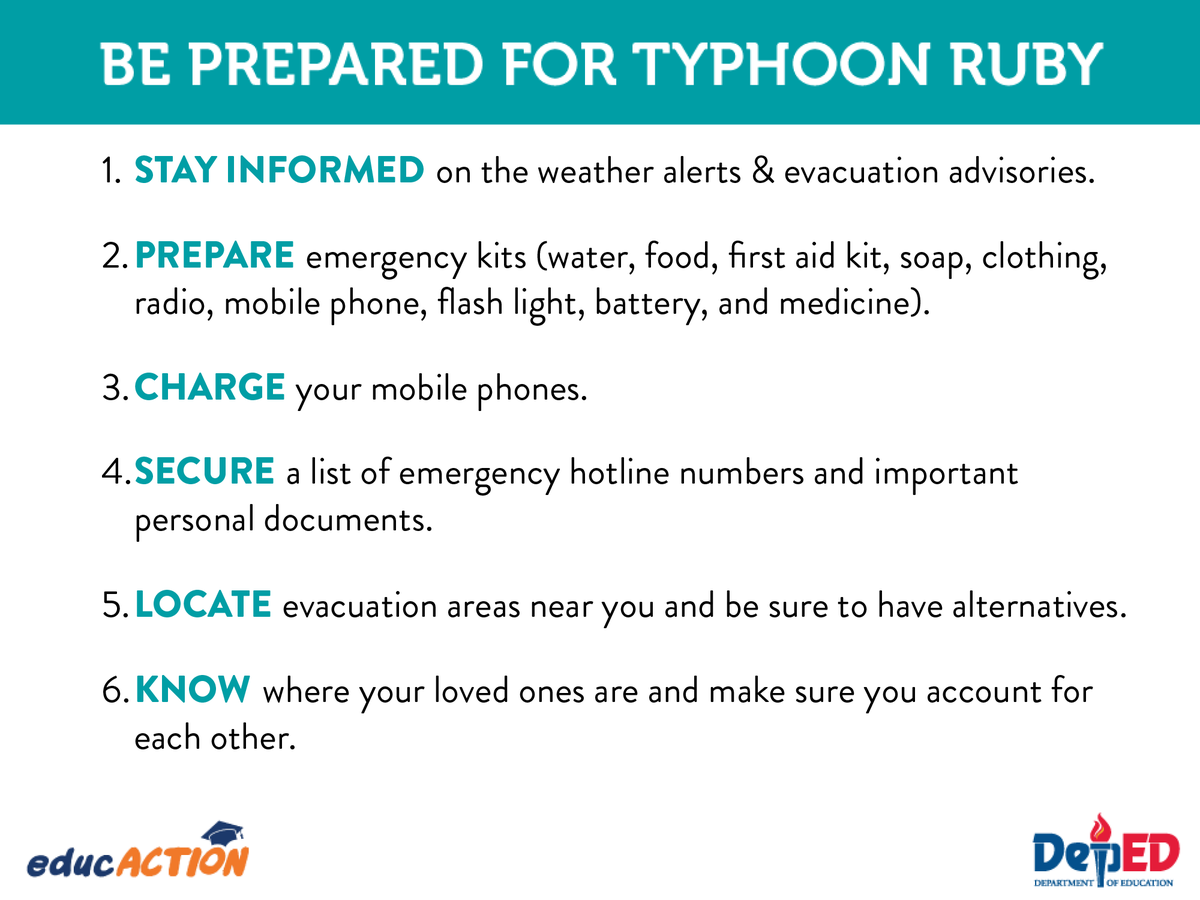 Please Take Precautionary Measures In Preparation For Typhoon RubyPH Keep Safe