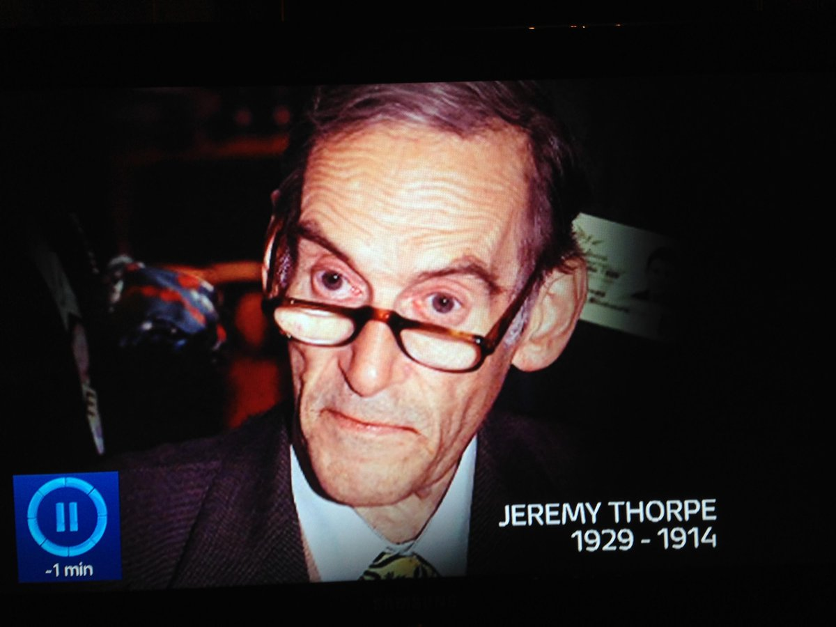 'Jeremy Thorpe, who died today, aged minus fifteen.' @itvnews http://t.co/KMBoz1iiD1