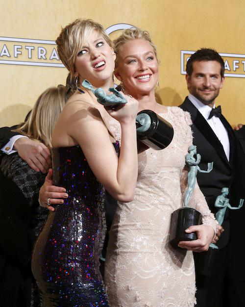 Throwback Thursday to this amazing moment at @SAGawards! #JenniferLawrence #BradleyCooper @AmericanHustle #TBT http://t.co/GzSoditunH