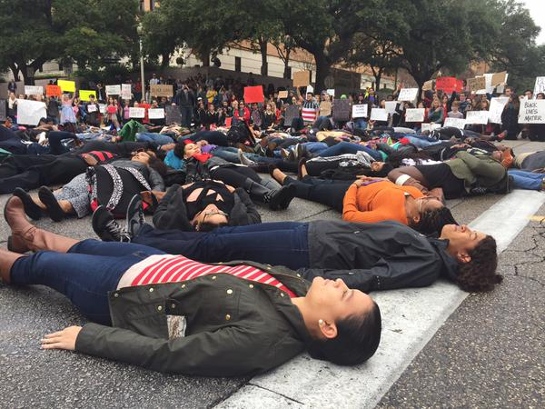 PHOTOS: Protesters gather on UT campus. #EricGarner http://t.co/ATBPGqMOHm http://t.co/8xCNMbS6W8