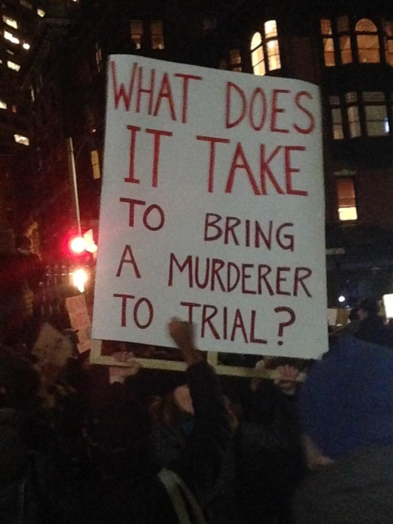 """Boston: """"What does it take to bring a murderer to trial?"""" #EricGarner #MikeBrown #EnoughIsEnough #BlackLivesMatter http://t.co/JwiwoQfiU4"""