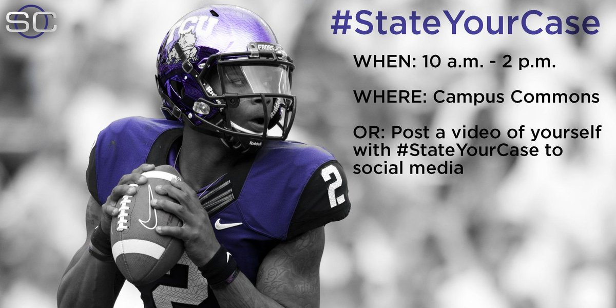 #StateYourCase why the Horned Frogs should make the College Football Playoff! Best videos could make @SportsCenter! http://t.co/eoir6eh5Ry