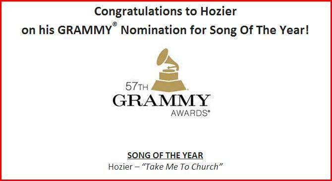 Big deal incoming. Take Me To Church by @Hozier is nominated for Song Of The Year at @TheGRAMMYs 2015 http://t.co/6m3EGydG1v
