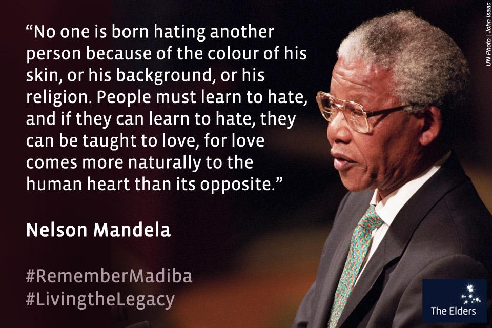 """""""No one is born hating another because of the colour of his skin."""" Nelson Mandela #RememberMadiba http://t.co/sseuWB9slu"""