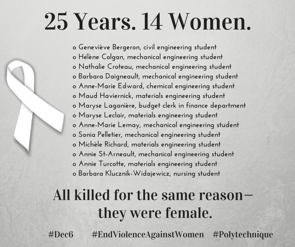 25 years ago, 14 women were killed at #Polytechnique for being female. Time to #EndViolenceAgainstWomen #Dec6 http://t.co/7sfLE4AYYk