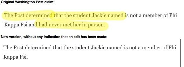 !!!! MT @jamisonfoser: WaPo has deleted a claim that Jackie never met the student she named: http://t.co/p4PX5Y41Bf http://t.co/Vgxyx4qINg