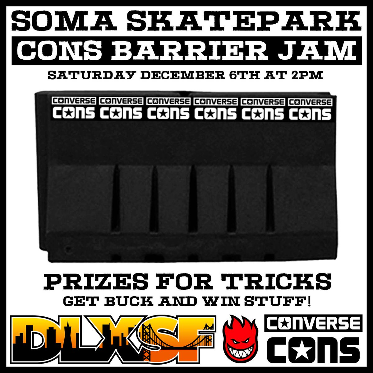 We are hosting a @Converse Barrier Jam at Soma West Skate Park in SF this Saturday, Dec. 6th at 2pm! http://t.co/sRVAhTEZF0