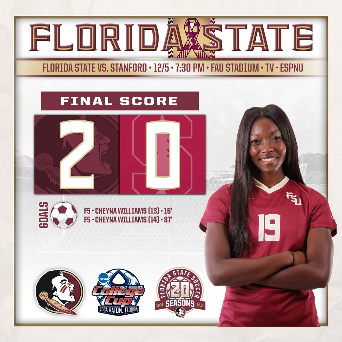 NOLES WIN!! FSU defeats Stanford, 2-0, to head to the National Championship game! http://t.co/VhyJXM3qme