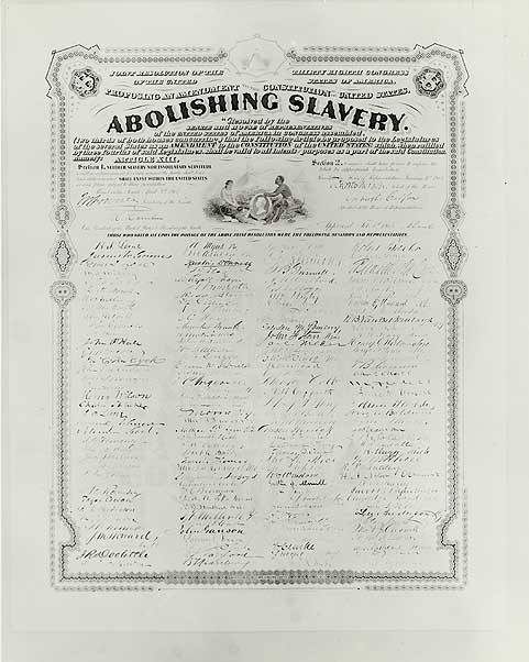 Today in 1865: Slavery is officially abolished with the ratification of the 13th Amendment.  http://t.co/vUcxZVkgjG http://t.co/M1MlvJnbEO