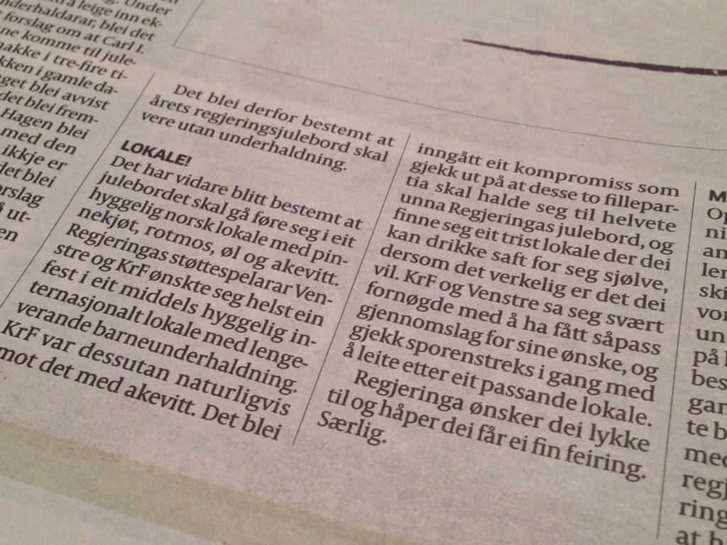Ler godt av @Are_Kalvo sin skildring av invitasjonen til Regjeringens julebord i @Aftenposten idag. #MÅLESE http://t.co/oUTlHQqDag