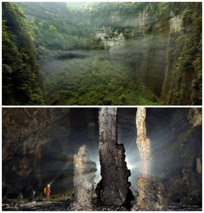 The Er Wang Dong Underground Cave System In China Is So Big It - Er wang dong cave china large weather system