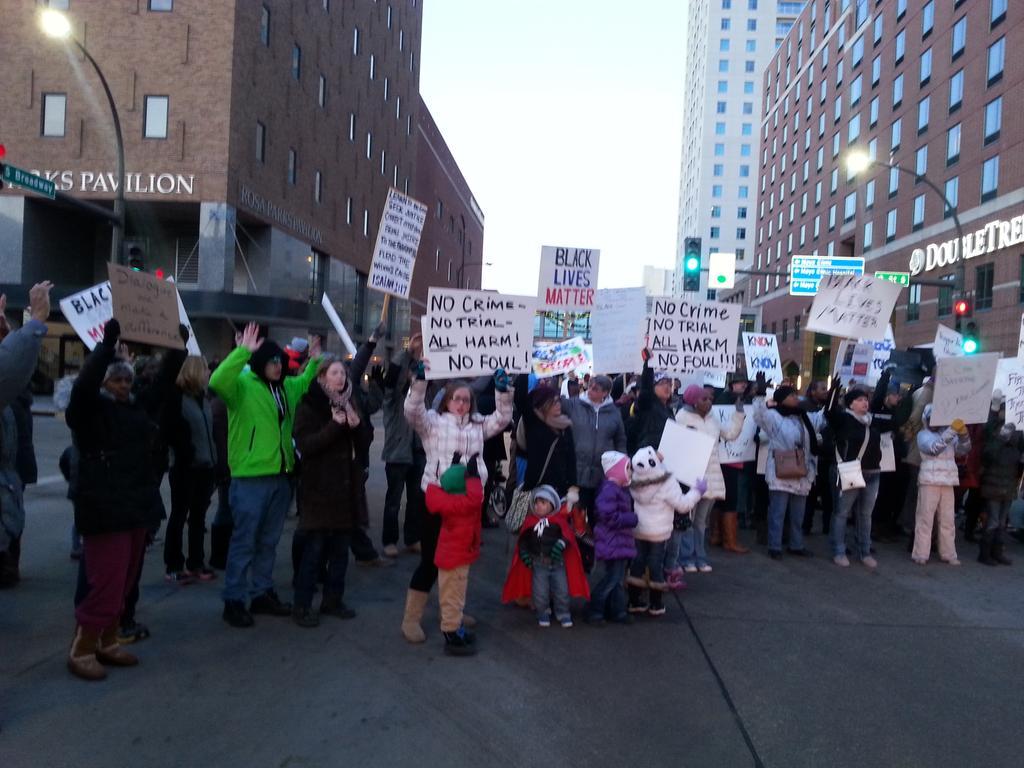 Intersection outside of the Rosa Parks Pavilion. #StandUpRoch #BlackLivesMatter #Roch4Justice http://t.co/5dy1TTFkbT