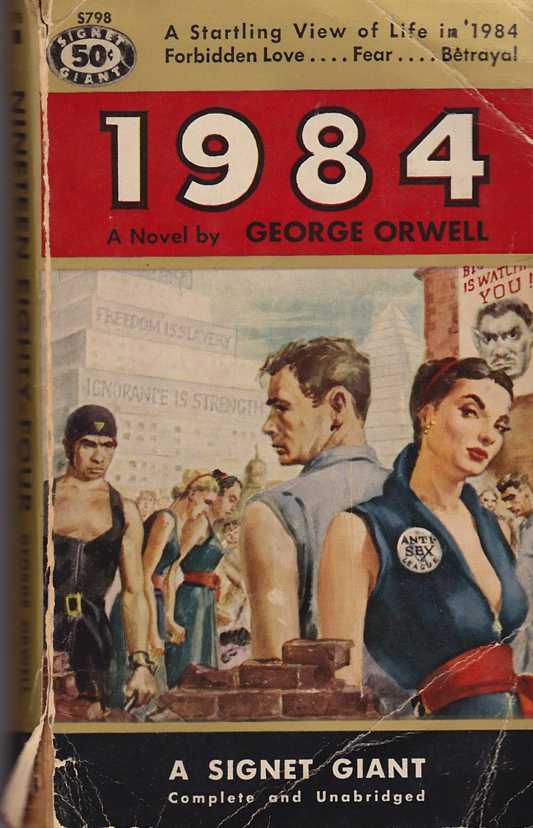 """Here is the lurid cover of my original """"1984,"""" read when I was 13 or so... Check out the plunge neckline! http://t.co/A9s7z49Dez"""