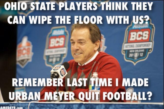 Saban smack talking Urban Meyer already!! #collegefootballplayoff #bama #buckeyes http://t.co/7EOXneTjJ2