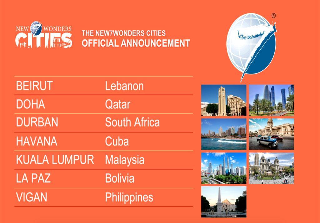 The #New7Wonders Cites are: Beirut, Doha, Durban, Havana, Kuala Lumpur, La Paz, Vigan: http://t.co/PNYZHqr4ek http://t.co/4F6jvQUmoK