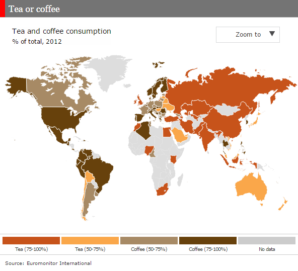 """The world divided into tea or coffee drinkers. Infographic by @TheEconomist More info: http://t.co/7DzGHu5zp1 http://t.co/Ui3VXq4QZR"""""""