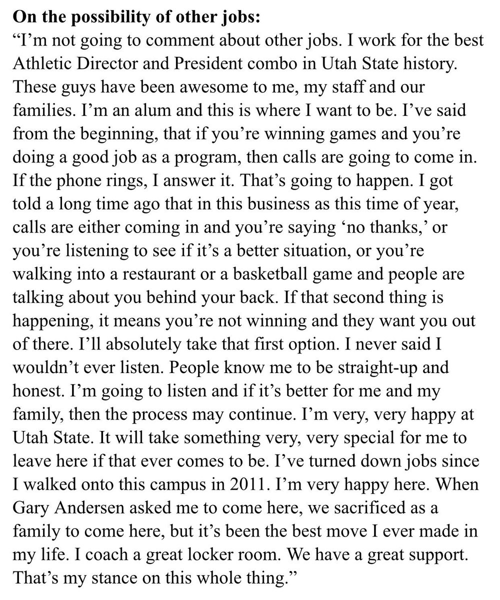 USU HC Matt Wells on other job opportunities. This is probably the best answer a coach could give. http://t.co/fboOfPUvyh