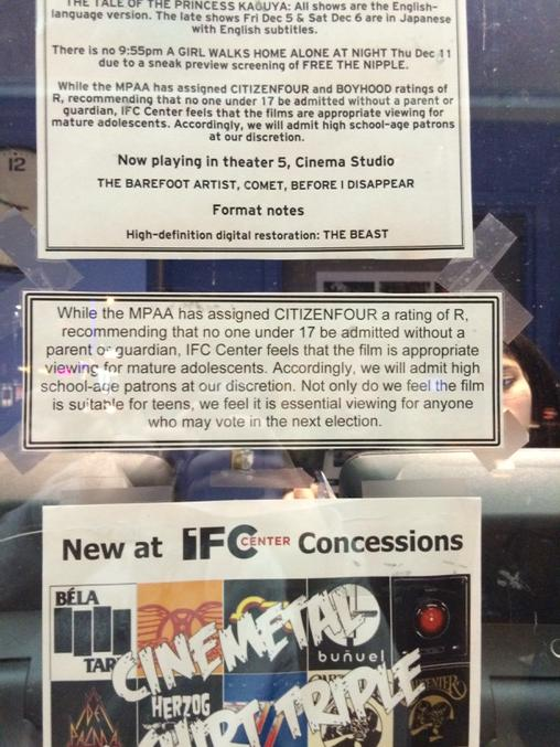 Notice posted outside the NYC theater where I just saw @citizenfour. Cc @ioerror. http://t.co/i4hvabjTe3