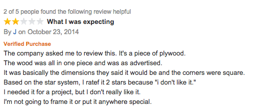 Great Amazon review for a sheet of wood http://t.co/jP2RI9P6pZ