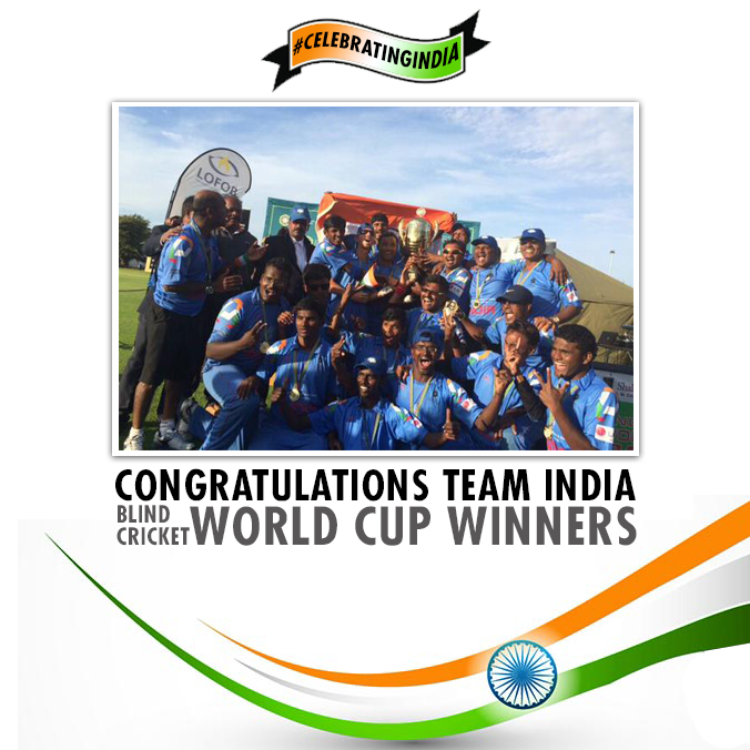 RT @IndianDiplomacy: India defeated Pakistan to win the Blind Cricket World Cup 2014. Congratulations to the team. #CelebratingIndia http://t.co/B42CYXICWj