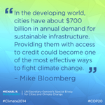 RT @MikeBloomberg: Cities and Markets Can Fight Climate Change http://t.co/q0h0WniOLi via @BV #COP20