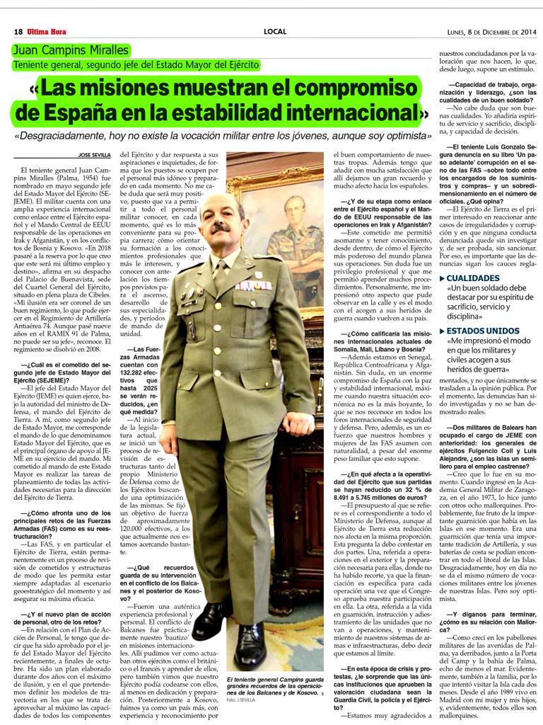 """""""Las misiones muestran compromiso España en la estabilidad internacional"""" entrevista general Campins vía @UHmallorca http://t.co/S0O0ptTtxF"""